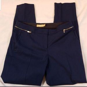 Michael Kors navy wool cropped zipper pants sz 2